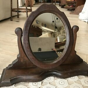 Antique Vanity or Shaving Mirror Victorian Cherry Wood