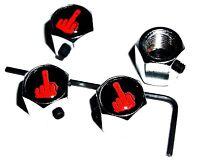 LOCKABLE F OFF FINGER CAR DUST/VALVE CAPS lock bike theft van bike tyre metal