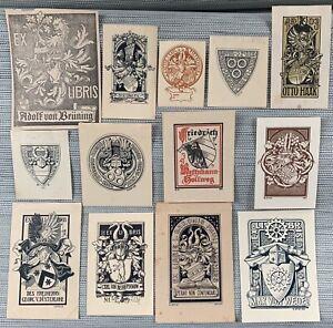 G. OTTO 13 Wappen Exlibris German Modern Heraldic Bookplates c1890-1910's
