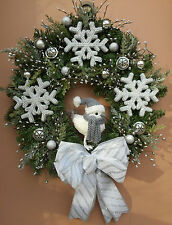 "22"" Christmas Holiday White Snow Bird Pine Wreath"