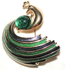VINTAGE PEACOCK PIN ENAMELED FEATHERS EMERALD GREEN CRYSTAL CAB BELLY SPHINX