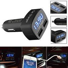 4 en 1 Dual USB Cargador De Coche Teléfono Móvil 3.1A GPS, temperatura, voltaje, amperaje