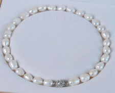 NEW 10-12MM white Freshwater cultured Rice pearl necklace 18""