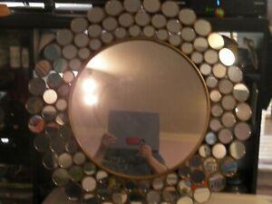 "30"" Chiara Mirror Iron Frame Gold Foil Finish Abstract Round Many Circles"