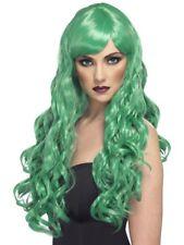 Green Desire Wig Long Curly w/ Fringe Adult Womens Smiffys Fancy Dress Costume