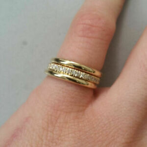 Elegant 925 Silver,Gold Ring Women Cubic Zirconia Wedding Jewelry Gift Size 6-10