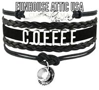 LOVE Coffee Cup Infinity Jewelry Bracelet Charm Quality BRAND NEW