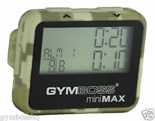 GYMBOSS miniMAX INTERVAL TIMER & STOPWATCH CAMOUFLAGE TAN SOFTCOAT SHIP FR UK