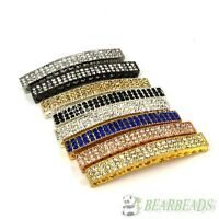 10pcs Curved 3 Row Crystal Rhinestones Bar Bracelet Connector Charm Beads Pick