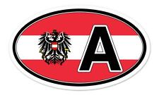 "Austria A Coat of Arms Flag Oval car window bumper sticker decal 5"" x 3"""