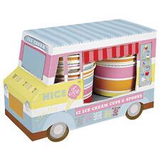 Meri Meri 12x Ice Cream Cups Tubs & Spoons in a Van - Childrens Birthday Party