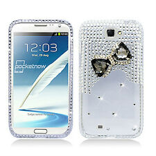 Samsung Galaxy Note II 2 Crystal Diamond BLING Hard Case Cover Clear Black Bow