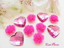 Big Pink Resin Roses Rhinestone Heart Flat-Back Cabochon Embellishment Craft MX1