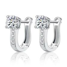 Solid 925 Sterling Silver Shiny Polished U Shape CZ Creole Hoop Earrings Gift