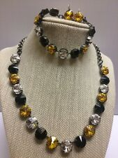 Swarovski crystal elements Necklace & Bracelet 12mm Jewelry Set Black Gold
