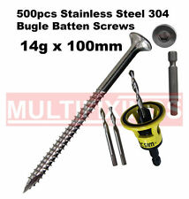500pcs - 14g x 150mm Stainless SS304 Bugle Head Screws + Macsim Clever Tool