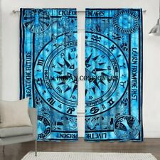 Cotton Cycle Of The Ages Blue Color Wall Hanging Door Decor Window Curtain Art