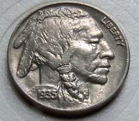 BU  1935 P Buffalo Nickel  Strong Full Horn. Handsome Specimen w/ Locking holder