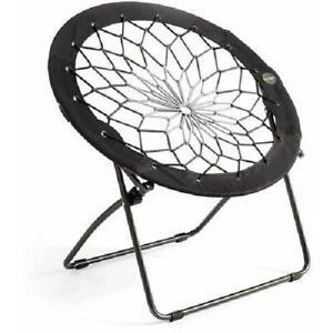 Bungee Chair Durable Steel Frame Flexible Lightweight Seat Black Gray