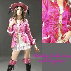 SALE! Pirate Fancy Dress Costume Swashbuckler Wench Pink Size 12-14 Buccaneer