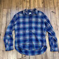 J.CREW Blue Plaid L/S Btn Up Flannel Country Chore Work Shirt Mens Lg SLIM FIT