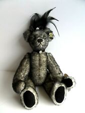 """Annette Funicello Collectible Gray/Black Mohair Bear 13"""" Feathers Hat Excellent"""