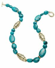 Ralph Lauren Gold Tone Serengeti Turquoise Bead Strand Necklace $68 NEW