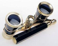Opera Theater Glasses 3x25 Brass Coated Lens Binocular Telescope Black W/ Handle