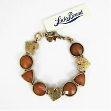 Lucky Brand Hearts & Faceted Orange Stone Bracelet Gold Tone Hammered Metal