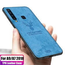 For Samsung Galaxy A9 2018 A7 A8 Hybrid Soft TPU Leather Case Shockproof Cover