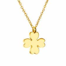 Collana in oro quadrifoglio acciaio inox dorato 18K ORO COLLANA CIONDOLO DONNA