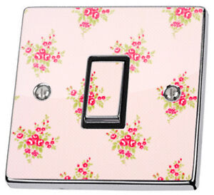 Pink Shabby Chic Pink Roses Light Switch Sticker vinyl skin cover decal floral