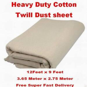 EXTRA HEAVY DUTY COTTON TWILL BOLTON TWILL DUST SHEET 12' x 9' CANVAS DROP CLOTH