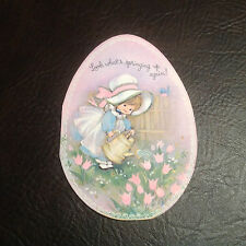 Vintage Used 1970s Egg-Shaped Easter Card Bonnet Girl Watering Tulips Blue Bird