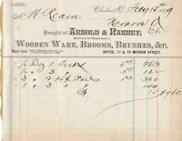 U.S.A. Arnold & Ranney Cleveland 1879 Wooden Ware Brooms Brushes Invoice Rf37432