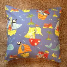 "NEW 16"" Kids Boys Blue Pirate Ships Nautical Seaside Decoration Cushion Cover"