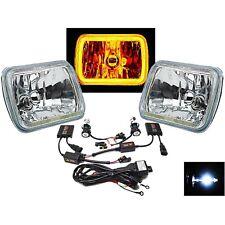 "7X6"" Plasma Amber COB LED Halo Headlight 6k HID Light Bulb Glass Headlamp Pair"