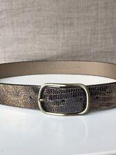 NEW Calvin Klein Metallic Snake Skin Embossed Brown Leather Belt M