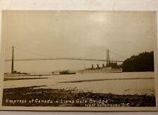 Empress of Canada Vancouver BC Lion's Gate Bridge Stanley Park RPPC  POSTCARD