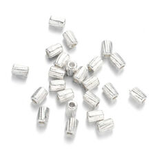 500PC Tibetan Silver Alloy Column Metal Beads Corrugated Loose Spacer Tiny 4x3mm