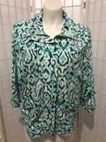 Women's Laura Ashley 2X  White Teal Green Paisley Silky Zip Up Spring Jacket