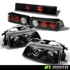 For 1990-1991 Honda Civic 3Dr Black Projector Headlights+Tail Lights Brake Lamps