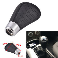 Aluminum Car Manual Leather Shifter Shift Knob Cover Stitch Shifter Lever Black