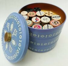 More details for three tiered vintage tin with sewing notions - thread, tape, dorcas pins