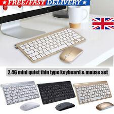 UK Ultra Slim Thin Wireless Keyboard & Mouse Set Combo 2.4G Kit for PC Laptop VO