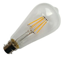 5 x B22 240V 6.5W 800LM WARM WHITE (2700K) LED FILAMENT RETRO DESIGN BULBS ~80W