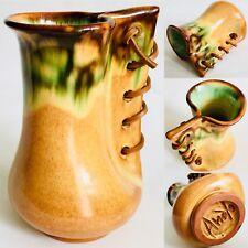 """Rare Signed Spanish Manuel Garcia Arroyo Art Pottery 6""""/15cm Glazed Sack Vase"""