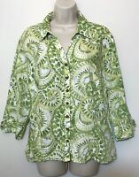 JM Collection Womens Size 16 Collared Button Down Shirt Green  LINEN 3/4 Sleeve