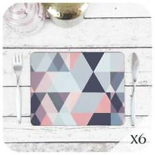 Blush Pink Scandinavian Geometric Placemats Set of 6, Pink and Grey Home Decor