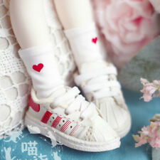 1/4 1/3 BJD Socks Stockings Red Heart Printing White for BJD Doll AOD AF AE DZ